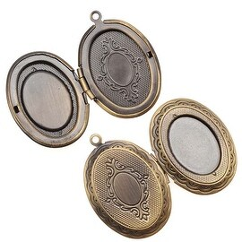 Antiqued Brass Oval Scroll Locket Pendant With Setting For Cabachon 33mm (1)