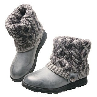 Women's Pewter Cable Knit Cuff Ankle Boots - Size 6