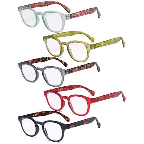 5 Pack Spring Hinges Reading Glasses - Vintage Pattern Design Women