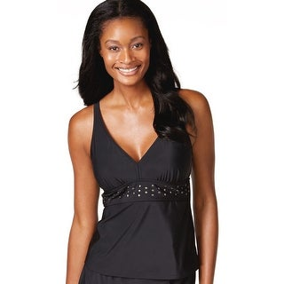 INC International Concepts Womens Studded Tankini Top Black Solid Size 10