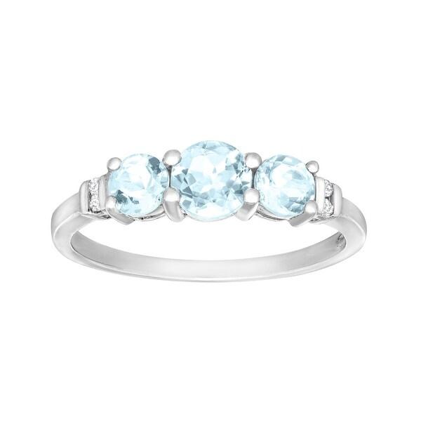 7/8 ct Aquamarine Trio Ring with Diamonds in 10K White Gold - Blue