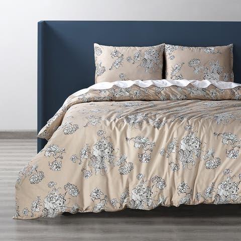 Exclusive Fabrics Bancroft Tan Cotton Percale Printed Duvet Cover Set