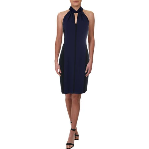 Elie Tahari Womens Braxton Cocktail Dress Velvet Trim Sleeveless - Blueberry/Black