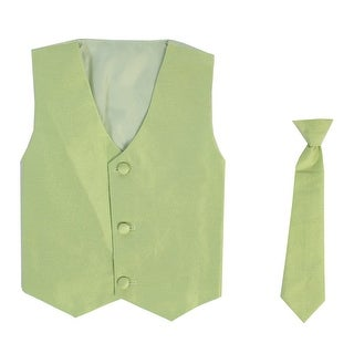 Baby Boys Apple Green Poly Silk Vest Necktie Special Occasion Set 3-24M
