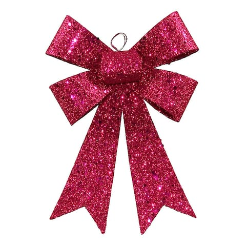 """7"""" Cerise Pink Sequin Glittered Bow Christmas Ornament"""