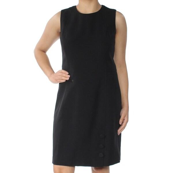 ANNE KLEIN Womens Black Buttoned Sleeveless Jewel Neck Mini Fit + Flare Evening Dress Size: 6