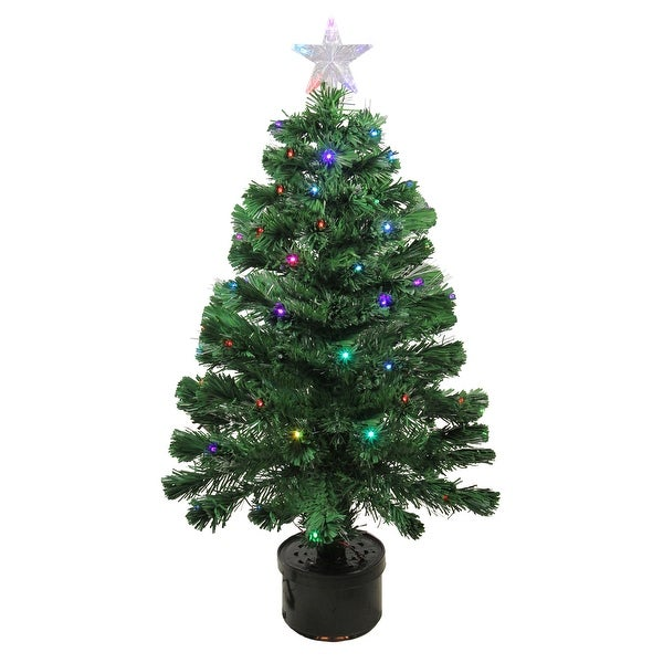 3' Pre-Lit LED Color Changing Fiber Optic Christmas Tree with Star Tree Topper - green