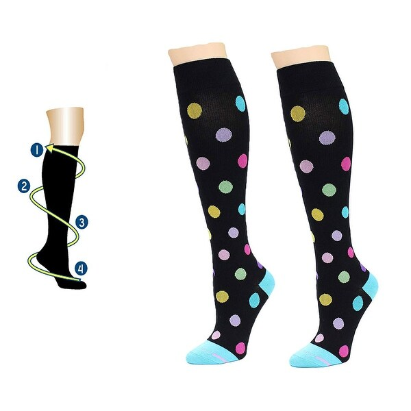 1c4bd7219ac Dr. Motion Women Everyday Knee High Mild Compression Socks Black Dots 4-10