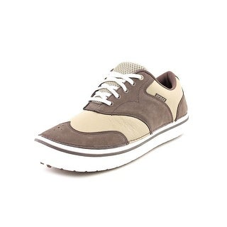 Crocs Preston Men Round Toe Leather Brown Sneakers