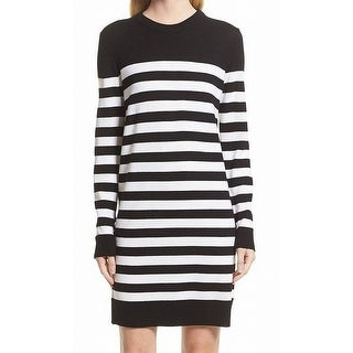 Rag & Bone NEW Black White Womens Size Large L Striped Sweater Dress