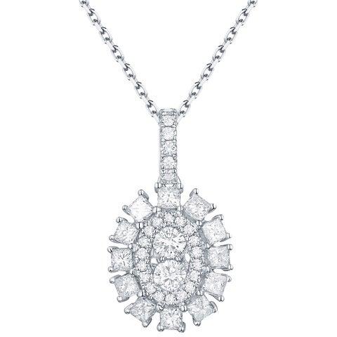 Prism Jewel 0.65Ct G-H/SI1 & I1 Round & Princess Natural Diamond Oval Cluster Pendant