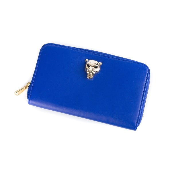 Roberto Cavalli Womens Blue Leather Zip Around Panther Head Wallet - L