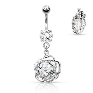 Large CZ Incased Camellia Flower Dangle Surgical Steel Belly Button Navel Ring - 14GA (Sold Ind.) (3 options available)