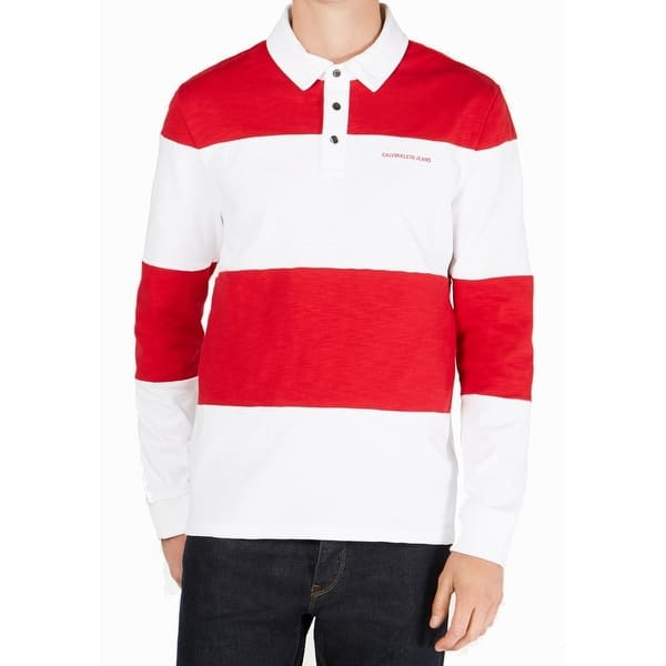 Calvin Klein Jeans Mens Red White Size 4xl Logo Striped Rugby Shirt