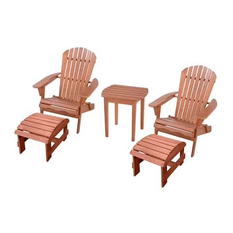 Adirondack Chair Conversation Set with Ottoman and 1 End Table