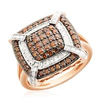 1.00 TCW Cognac Color Diamond and Diamond Cluster Ring