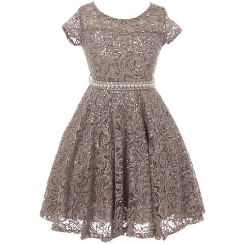 Cap Sleeve Floral Lace Glitter Flower Girl Dress Silver JKS 2102