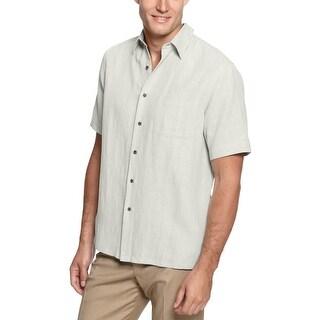 Tasso Elba Island Big and Tall Crosshatch Short Sleeve Shirt Silverbirch 4XLT