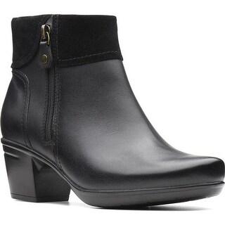 5ab1830a4e Clarks Women's Emslie Twist Ankle Boot Black Leather/Suede Combination