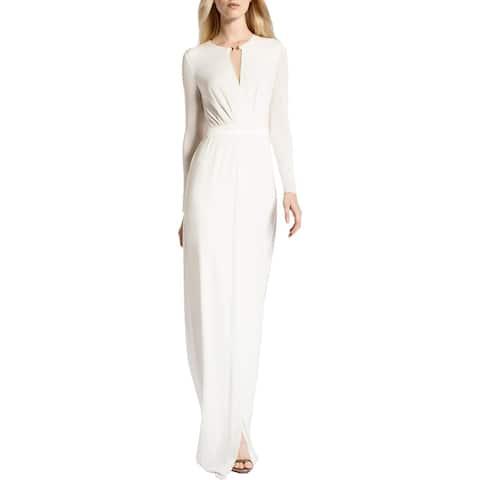 Halston Heritage Women's Matte Jersey Faux Wrap Keyhole Gown