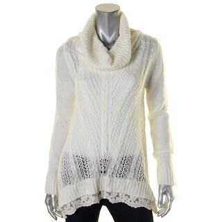 Hippie Rose Womens Juniors Pullover Sweater Knit Lace Hem - L