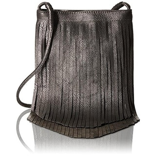 Twig & Arrow Womens Faux Leather Fringe Crossbody Handbag - Pewter - SMALL