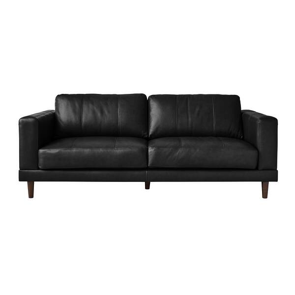 Picket House Furnishings Hanson Leather Sofa In Black On Sale Overstock 31566681