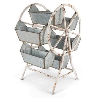 "21.65"" Grey Galvanized Rustic Ferris Wheel Organizer with Six Buckets"