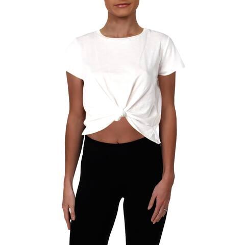 Aqua Womens T-Shirt Knot-Front Short Sleeves