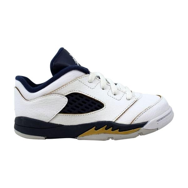 13a6b334857 Nike Air Jordan V 5 Retro Low TD White/Midnight Navy-Metallic Gold Dunk