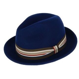 Broner Men's Wool Felt Fedora with Striped Grosgrain Ribbon Band