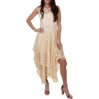 Free People Womens French Courtship Slip Dress Sheer Lace Tiered