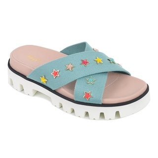 Red Valentino Blue Canvas Strap Star Charm Slide Sandals