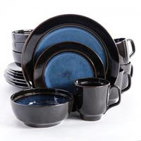 Gibson 107136.16 Elite Bella Galleria Dinnerware Set, Blue