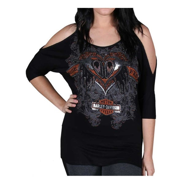 2c01cef2380f Shop Harley-Davidson Women's Shirt, Embellished Cold Shoulder Freedom 3/4  Sleeve Tee - Free Shipping On Orders Over $45 - Overstock - 21691331