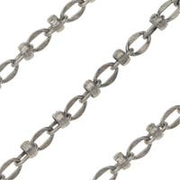 Antiqued Silver Plated Bulk Chain, Link and Connector with Bead 4x6mm, Sold By The Foot