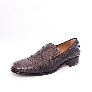 Salvatore Ferragamo Womens Python Rimella Loafers Charcoal Size 6