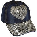 Heart Sparkling Bedazzled Studded Baseball Cap Hat, Denim, Dark Blue - Thumbnail 0