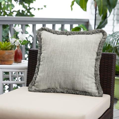 Sunbrella Canvas Granite and Charcoal Fringe Indoor/ Outdoor Pillow - 18 in x 18 in