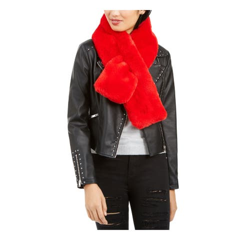 APPARIS Womens Red Faux Fur Winter Scarf - ONE SIZE