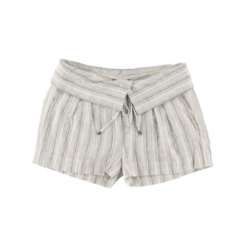 Vince Womens Casual Shorts Linen Blend Striped - Ivory/Blue - 4
