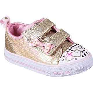 Skechers Twinkle Toes Shuffles Itsy Bitsy Girls Light Up Sneakers Silver/Hot Pink 6.5