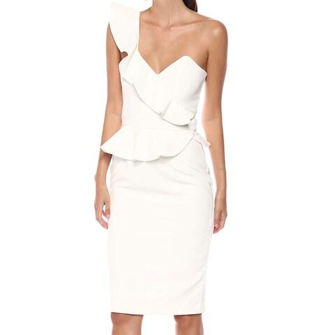 Bardot White Women's Size Large L Ruffle One Shoulder Sheath Dress