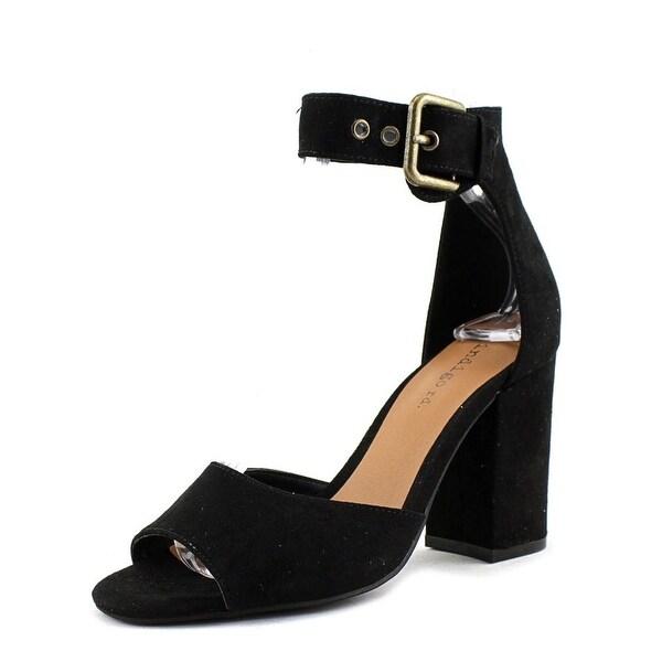 Indigo Rd. Zoe Women Peep-Toe Canvas Black Heels