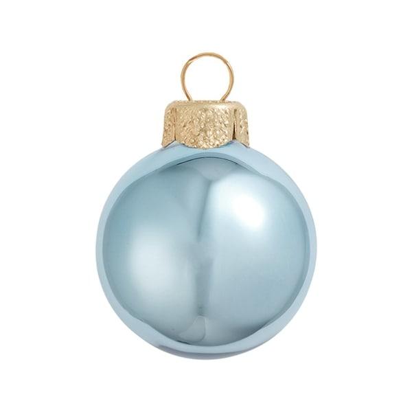 "40ct Shiny Sky Blue Glass Ball Christmas Ornaments 1.5"" (40mm)"