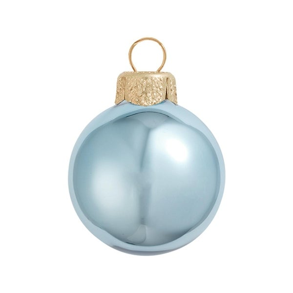 "8ct Shiny Sky Blue Glass Ball Christmas Ornaments 3.25"" (80mm)"