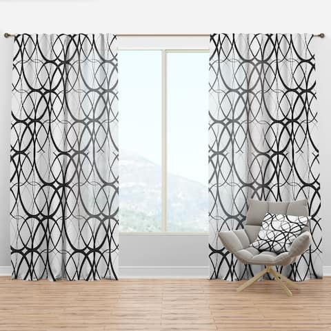 Designart 'Monochrome Geometric Pattern' Mid-Century Modern Curtain Panel