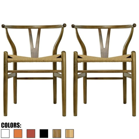 2xhome - Set of 2 Walnut Modern Wood Dining Chair With Back Arm Armchair Hemp Seat For Home Restaurant Office - N/A