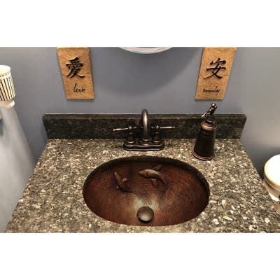 Premier Copper Products LO19FKOIDB 19-inch Oval Under Counter Hammered Copper Bathroom Sink with Koi Fish Design