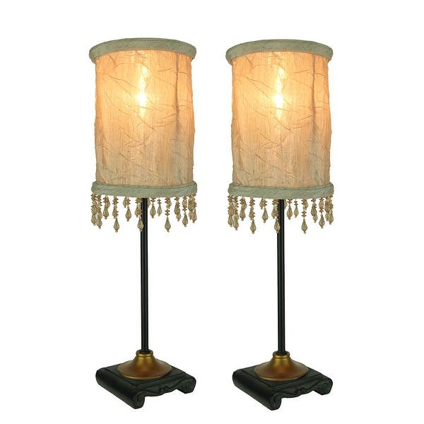 Accent Lamp With White Beaded Fringe